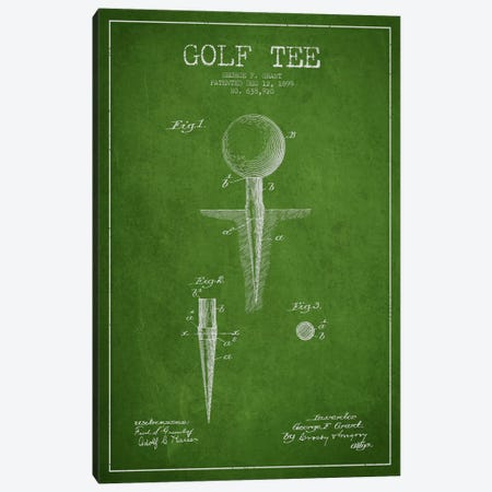 Golf Tee Green Patent Blueprint Canvas Print #ADP2146} by Aged Pixel Canvas Art