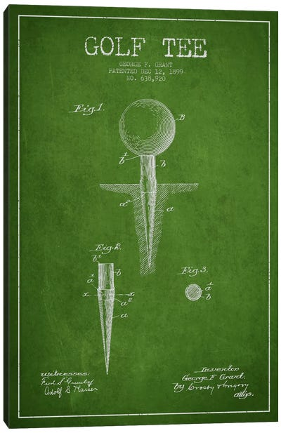 Golf Tee Green Patent Blueprint Canvas Art Print