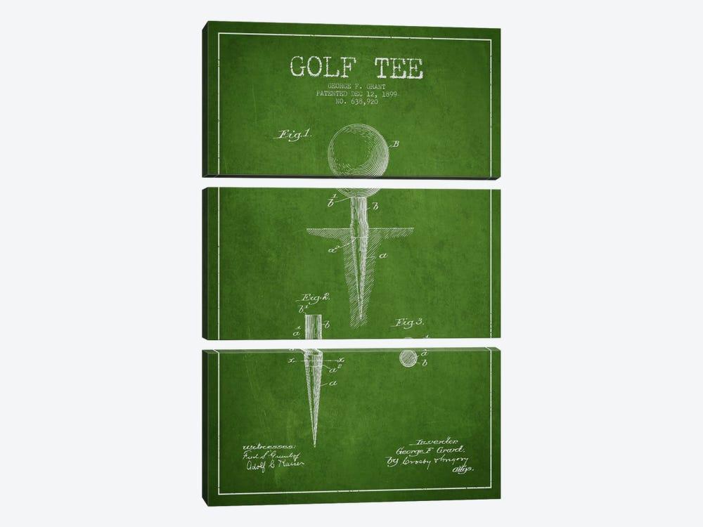 Golf Tee Green Patent Blueprint by Aged Pixel 3-piece Art Print