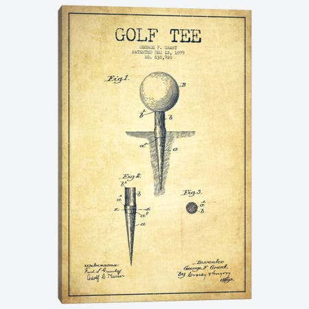 Golf Tee Vintage Patent Blueprint Canvas Print #ADP2149} by Aged Pixel Art Print