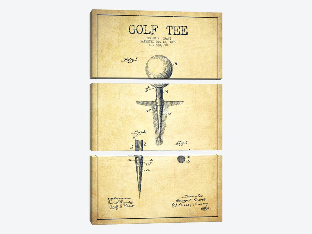 Golf Tee Vintage Patent Blueprint by Aged Pixel 3-piece Canvas Art
