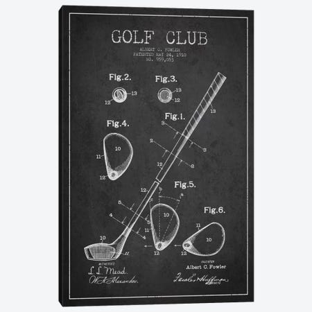 Golf Club Charcoal Patent Blueprint Canvas Print #ADP2150} by Aged Pixel Canvas Wall Art