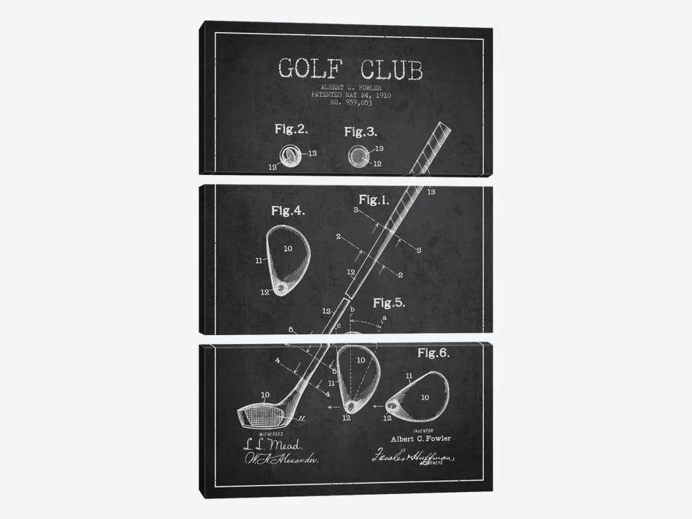 Golf Club Charcoal Patent Blueprint by Aged Pixel 3-piece Canvas Wall Art