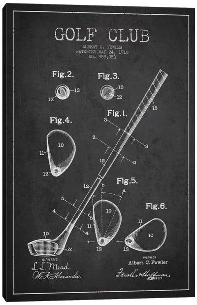 Golf Club Charcoal Patent Blueprint Canvas Art Print