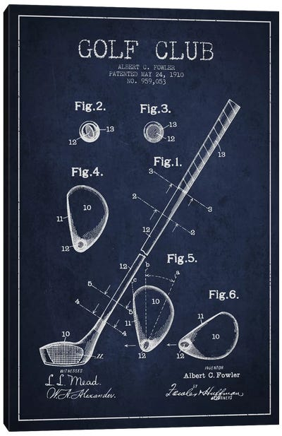 Golf Club Navy Blue Patent Blueprint Canvas Art Print