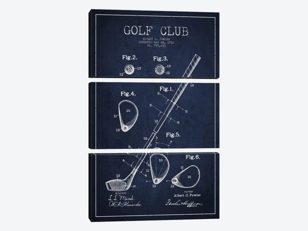 Golf Club Navy Blue Patent Blueprint by Aged Pixel 3-piece Canvas Art