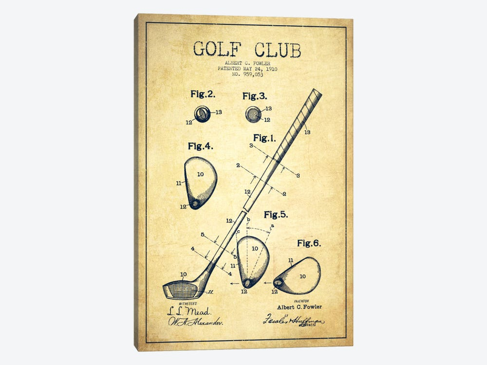 Golf club vintage patent blueprint canvas art by aged pixel icanvas golf club vintage patent blueprint by aged pixel 1 piece canvas wall art malvernweather
