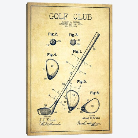 Golf Club Vintage Patent Blueprint Canvas Print #ADP2154} by Aged Pixel Canvas Print