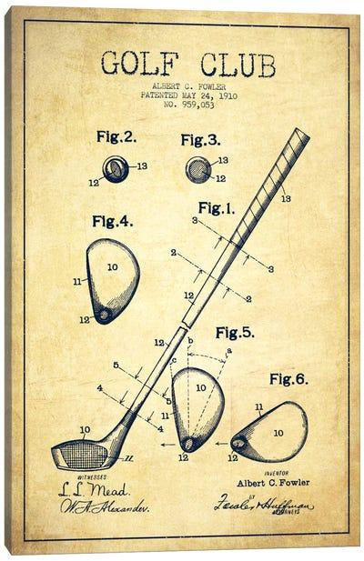 Golf Club Vintage Patent Blueprint Canvas Art Print