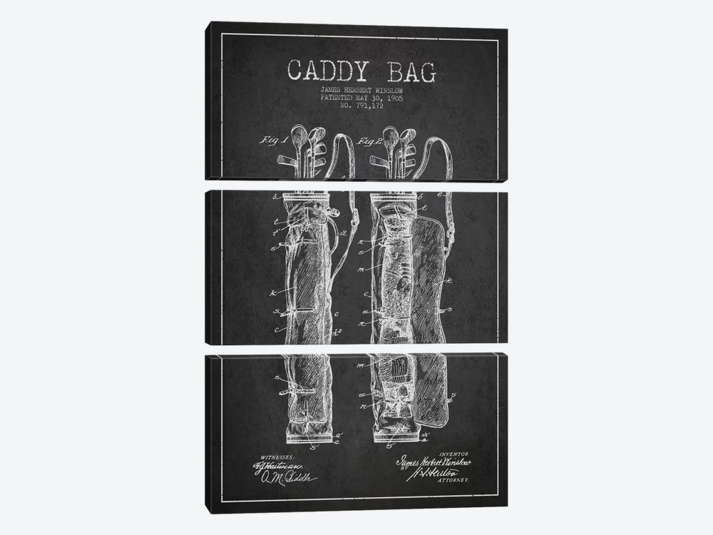 Caddy Bag Charcoal Patent Blueprint by Aged Pixel 3-piece Art Print