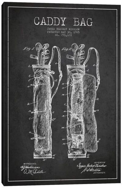 Caddy Bag Charcoal Patent Blueprint Canvas Art Print