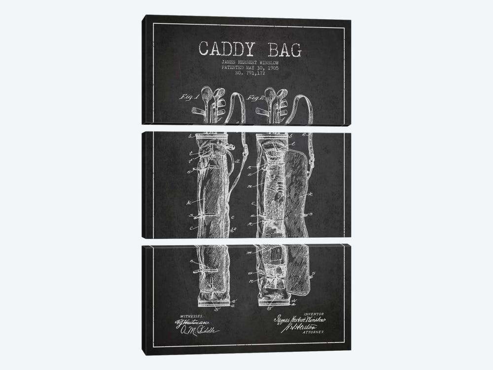 Caddy Bag Charcoal Patent Blueprint by Aged Pixel 3-piece Art Print