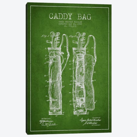 Caddy Bag Green Patent Blueprint Canvas Print #ADP2156} by Aged Pixel Canvas Art Print