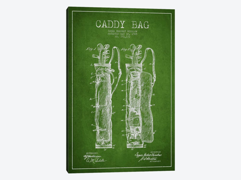 Caddy Bag Green Patent Blueprint by Aged Pixel 1-piece Canvas Wall Art