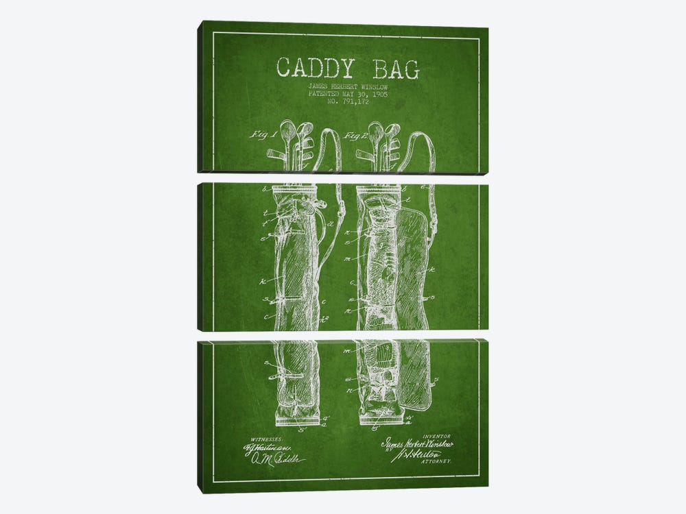 Caddy Bag Green Patent Blueprint by Aged Pixel 3-piece Canvas Wall Art