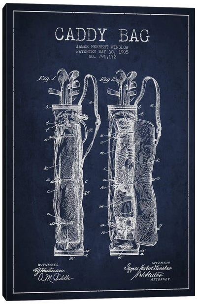 Caddy Bag Navy Blue Patent Blueprint Canvas Art Print
