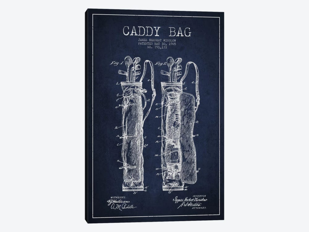 Caddy Bag Navy Blue Patent Blueprint by Aged Pixel 1-piece Canvas Print