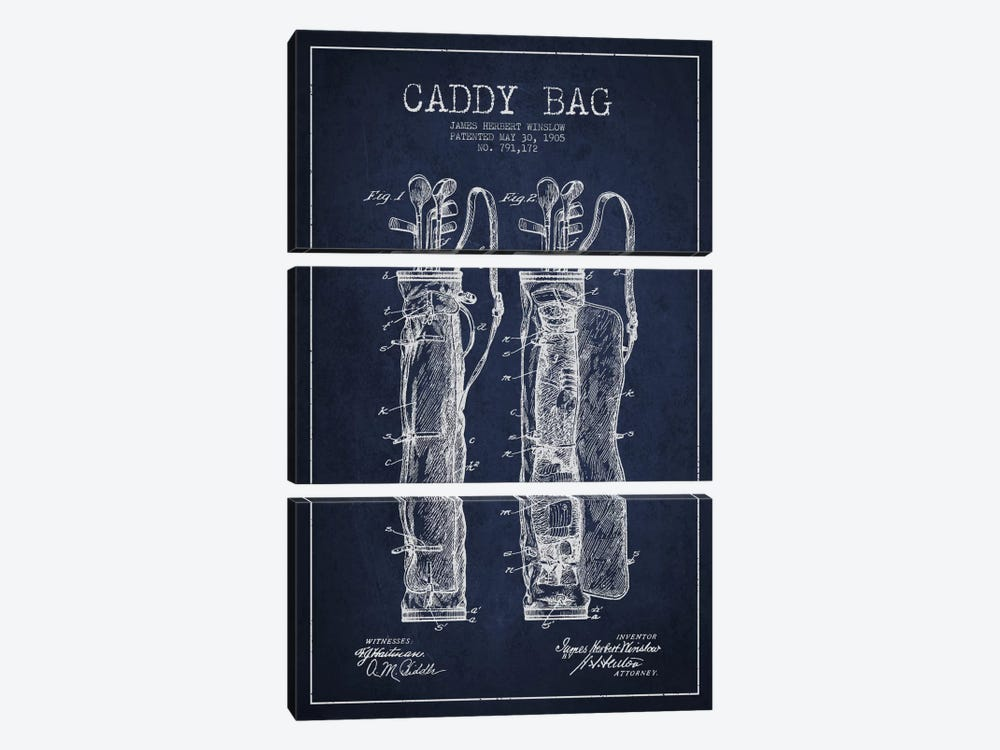 Caddy Bag Navy Blue Patent Blueprint by Aged Pixel 3-piece Art Print