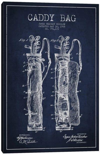 Caddy Bag Navy Blue Patent Blueprint Canvas Art Print
