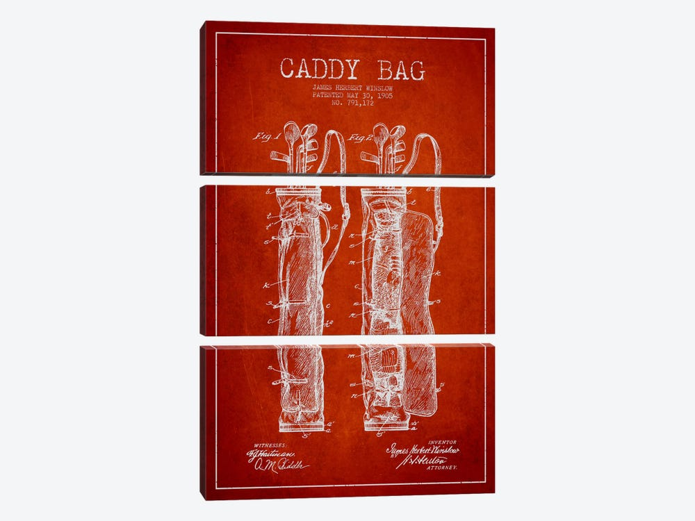 Caddy Bag Red Patent Blueprint by Aged Pixel 3-piece Canvas Wall Art