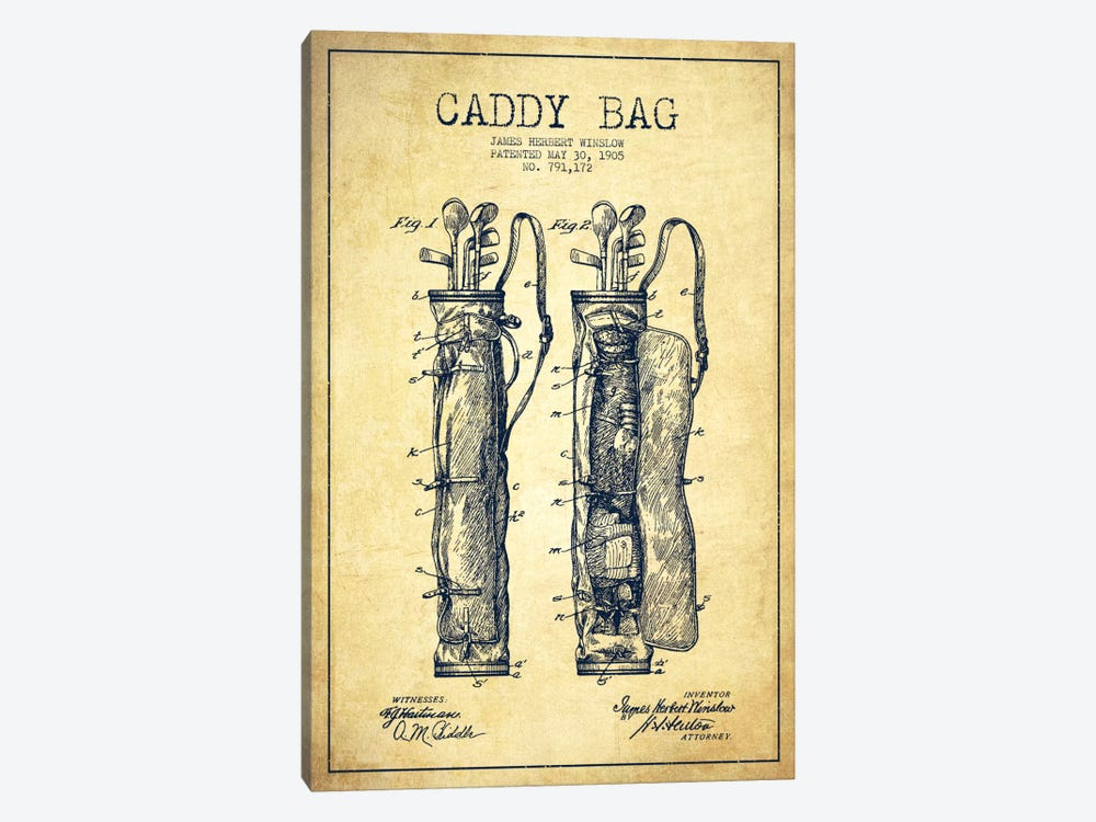 Caddy Bag Vintage Patent Blueprint by Aged Pixel 1-piece Art Print