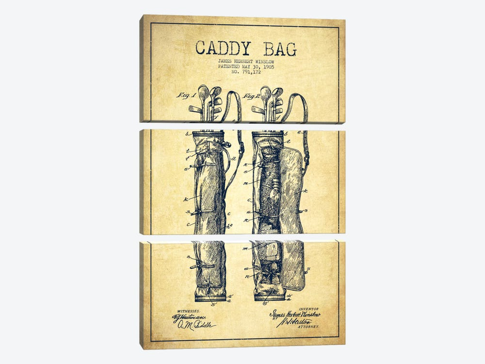 Caddy Bag Vintage Patent Blueprint by Aged Pixel 3-piece Canvas Art Print