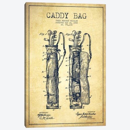 Caddy Bag Vintage Patent Blueprint Canvas Print #ADP2159} by Aged Pixel Canvas Art