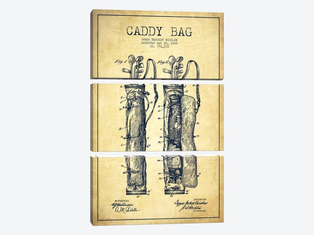 Caddy Bag Vintage Patent Blueprint by Aged Pixel 3-piece Canvas Art Print
