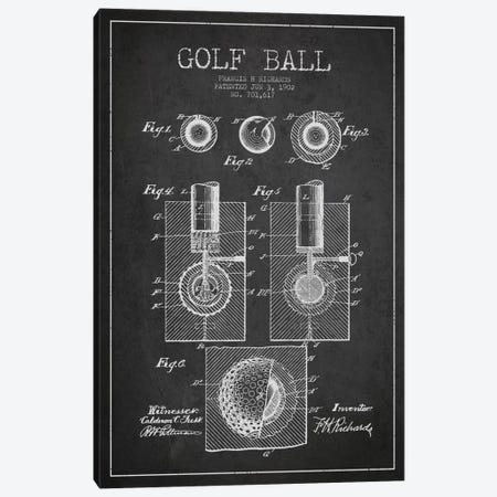 Golf Ball Charcoal Patent Blueprint Canvas Print #ADP2160} by Aged Pixel Art Print