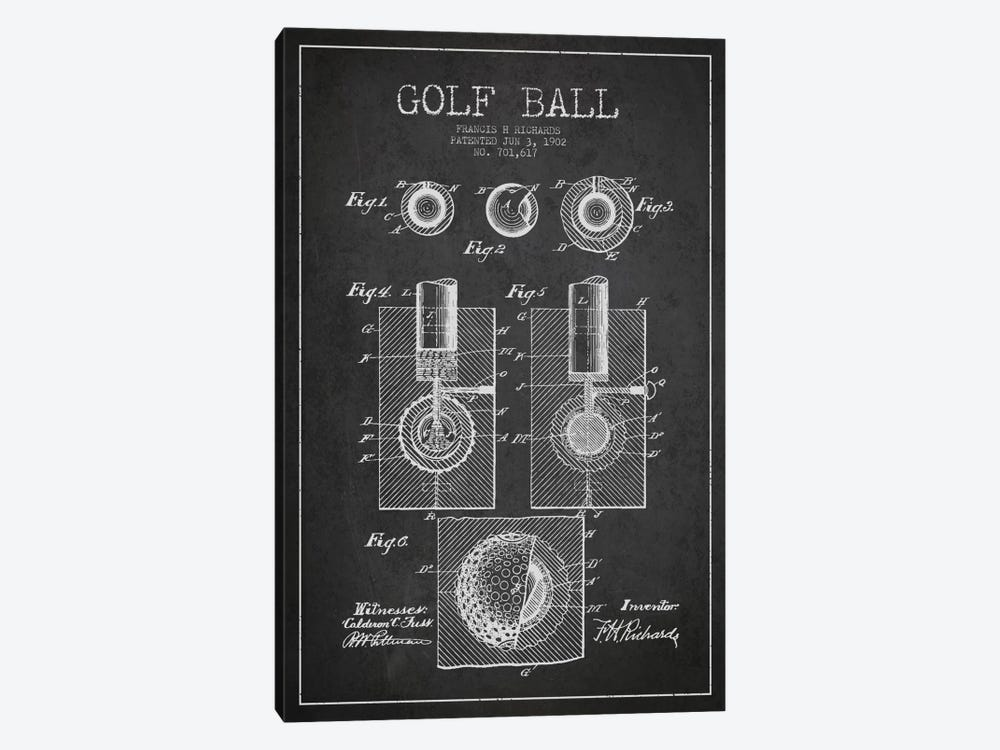 Golf Ball Charcoal Patent Blueprint by Aged Pixel 1-piece Canvas Print