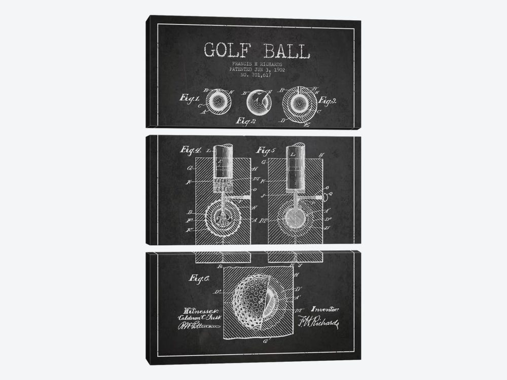 Golf Ball Charcoal Patent Blueprint by Aged Pixel 3-piece Art Print