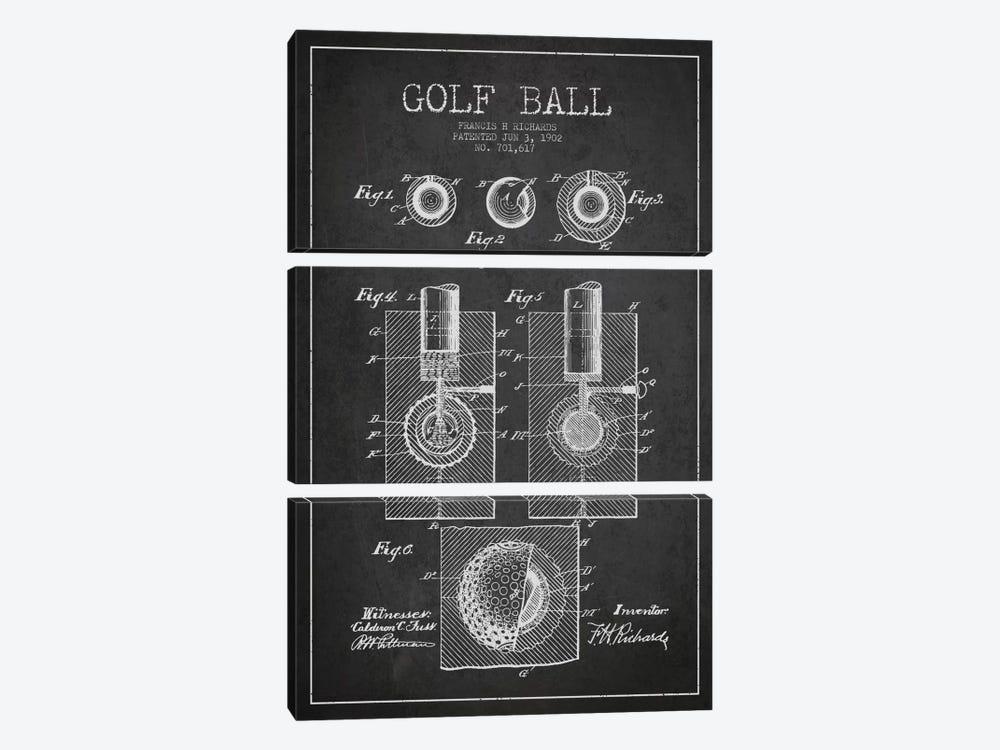 Golf Ball Charcoal Patent Blueprint by Aged Pixel 3-piece Art Print