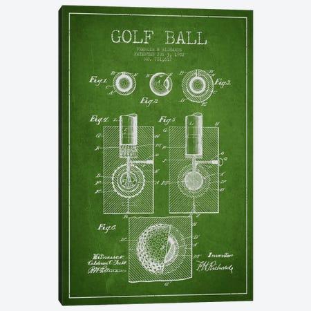 Golf Ball Green Patent Blueprint Canvas Print #ADP2161} by Aged Pixel Canvas Print