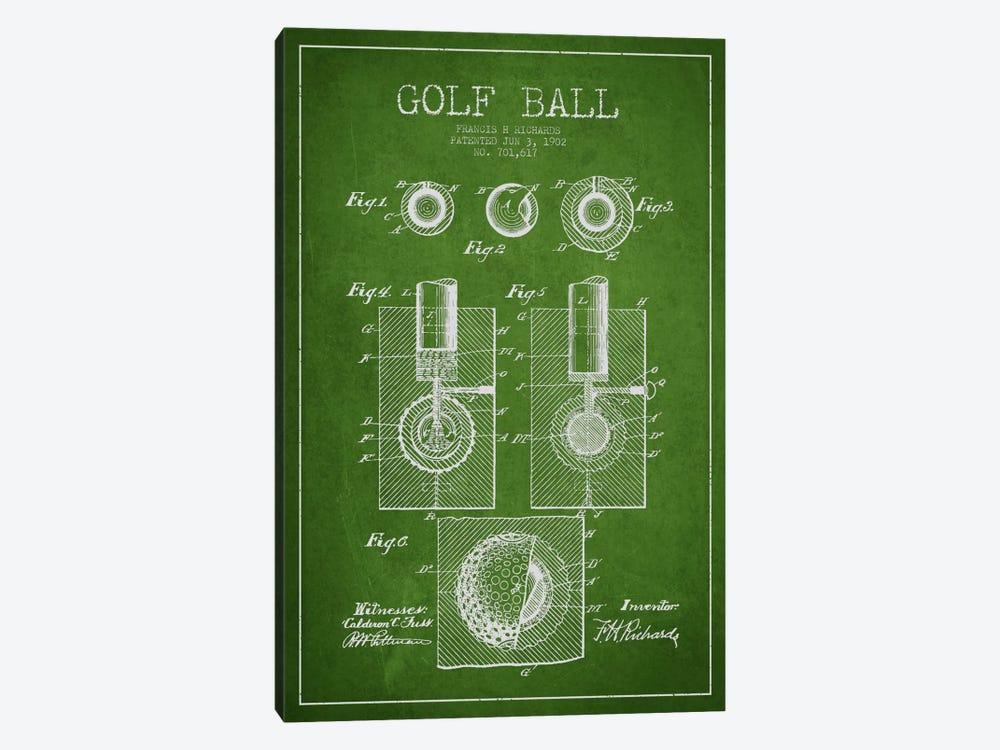 Golf Ball Green Patent Blueprint by Aged Pixel 1-piece Canvas Wall Art