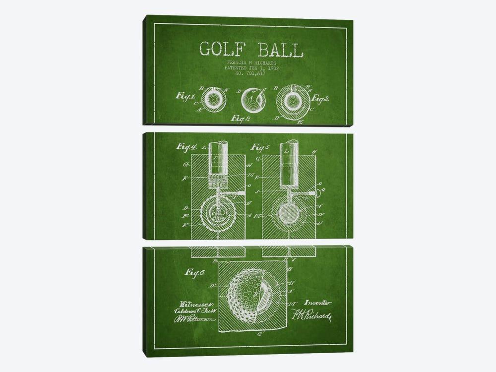 Golf Ball Green Patent Blueprint by Aged Pixel 3-piece Canvas Artwork