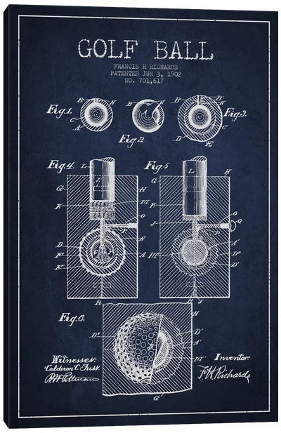 Golf Ball Navy Blue Patent Blueprint Canvas Art Print