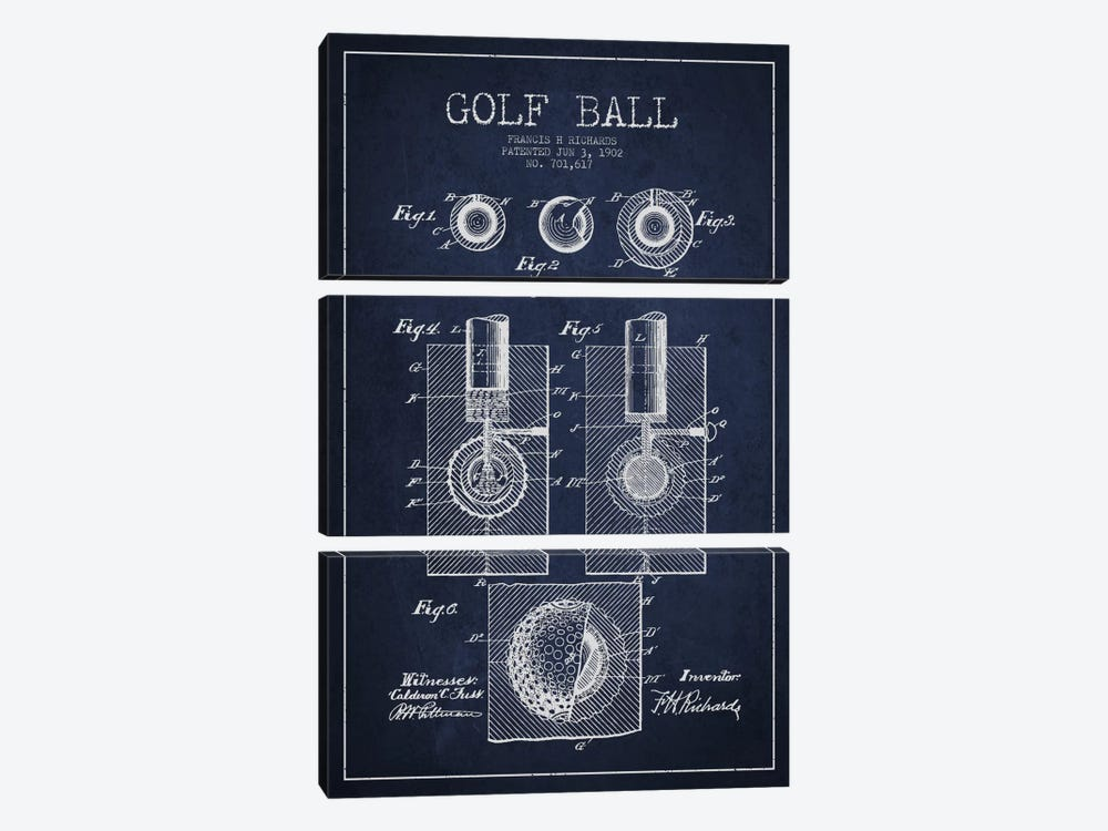 Golf Ball Navy Blue Patent Blueprint by Aged Pixel 3-piece Canvas Print