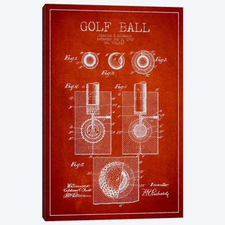 Golf Ball Red Patent Blueprint Canvas Print #ADP2163} by Aged Pixel Canvas Print