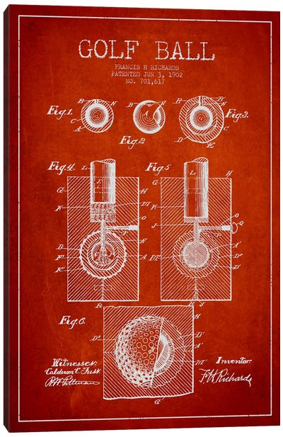 Golf Ball Red Patent Blueprint Canvas Art Print