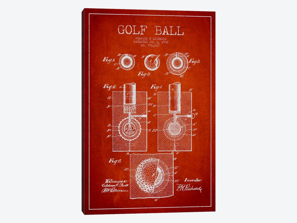 Golf Ball Red Patent Blueprint 1-piece Canvas Artwork