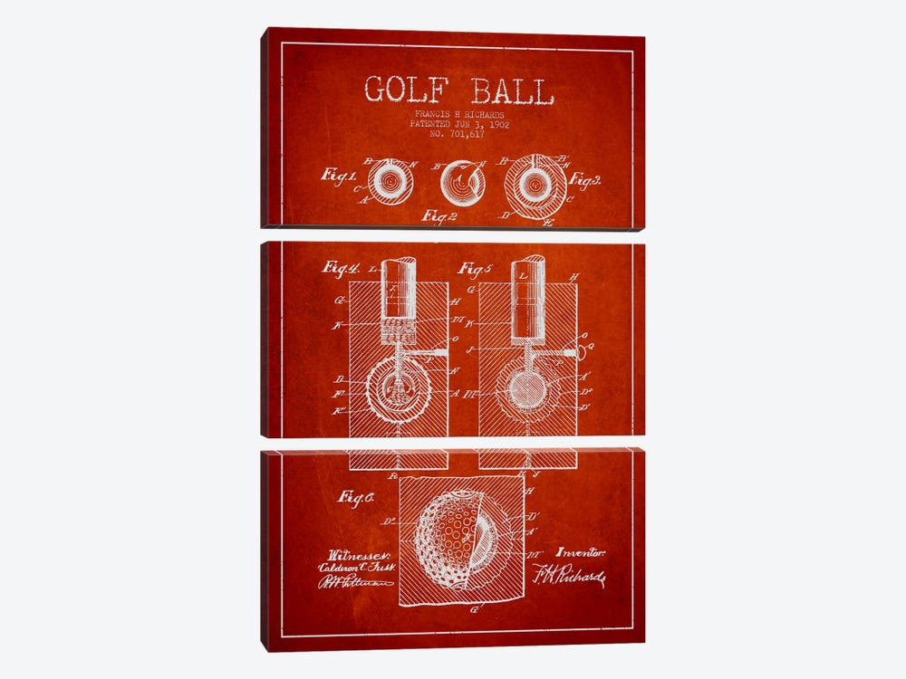 Golf Ball Red Patent Blueprint by Aged Pixel 3-piece Canvas Wall Art