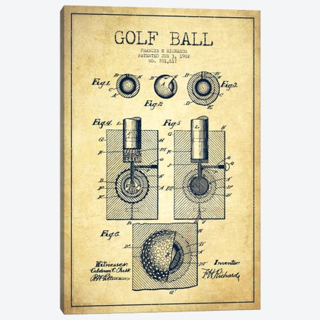 Golf Ball Vintage Patent Blueprint Canvas Print #ADP2164} by Aged Pixel Canvas Artwork