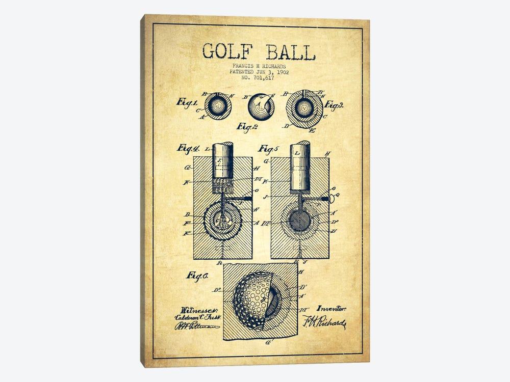 Golf Ball Vintage Patent Blueprint by Aged Pixel 1-piece Canvas Art Print