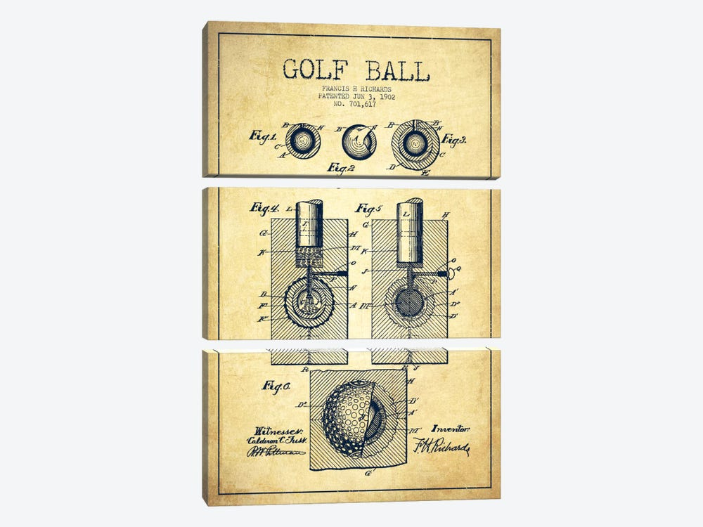 Golf Ball Vintage Patent Blueprint by Aged Pixel 3-piece Art Print