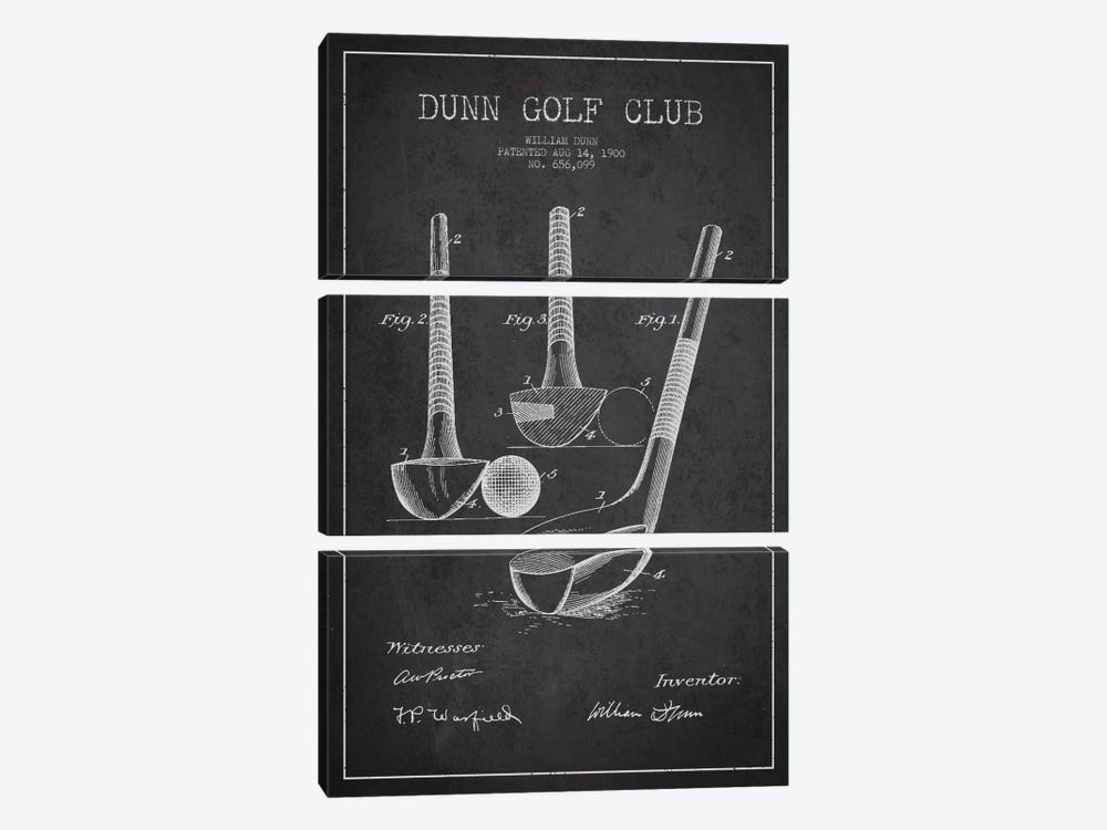 Dunn Golf Club Charcoal Patent Blueprint by Aged Pixel 3-piece Canvas Wall Art