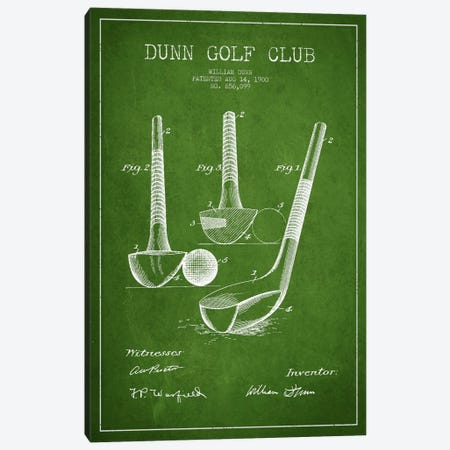Dunn Golf Club Green Patent Blueprint Canvas Print #ADP2166} by Aged Pixel Canvas Artwork
