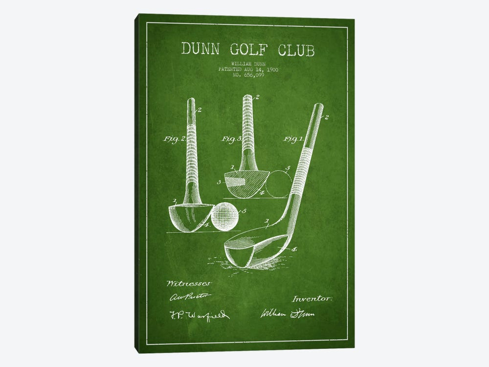 Dunn Golf Club Green Patent Blueprint by Aged Pixel 1-piece Art Print