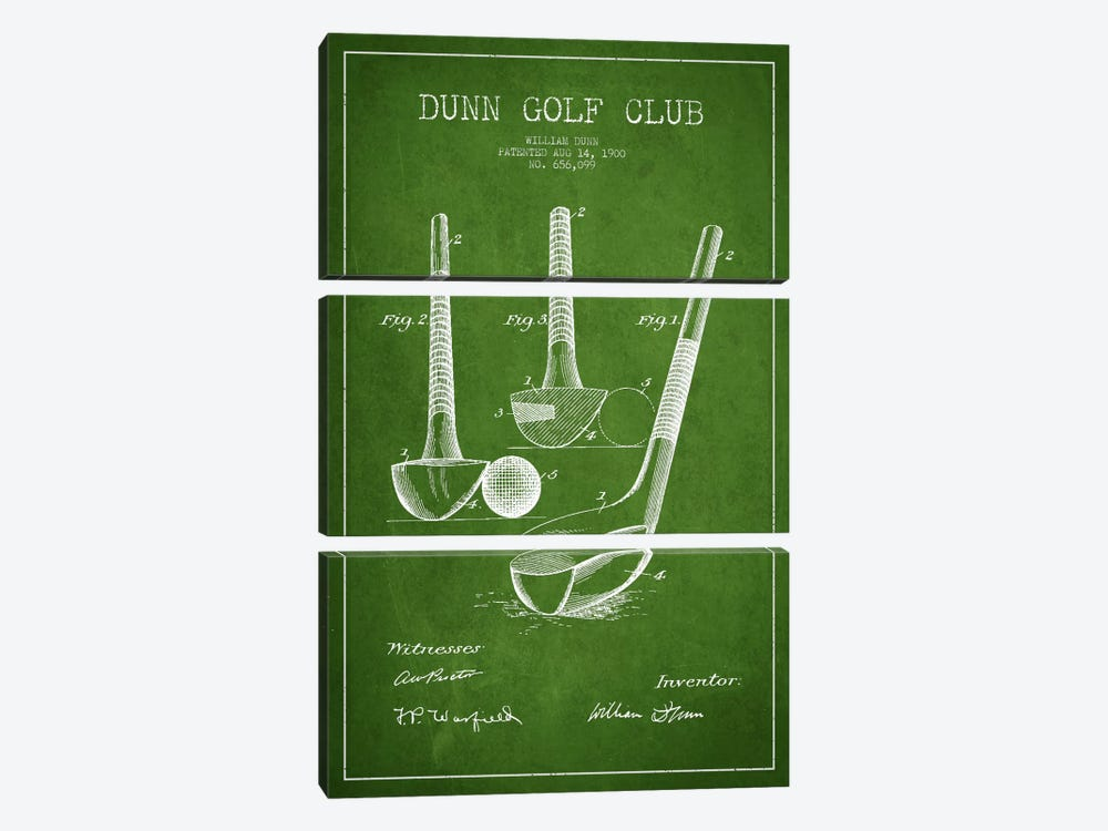 Dunn Golf Club Green Patent Blueprint by Aged Pixel 3-piece Canvas Print
