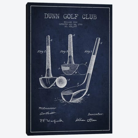 Dunn Golf Club Navy Blue Patent Blueprint Canvas Print #ADP2167} by Aged Pixel Canvas Artwork