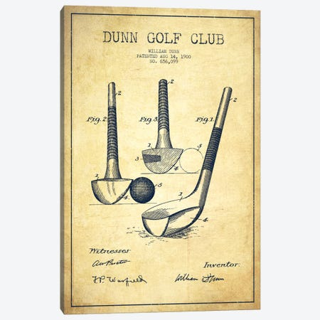 Dunn Golf Club Vintage Patent Blueprint Canvas Print #ADP2169} by Aged Pixel Art Print